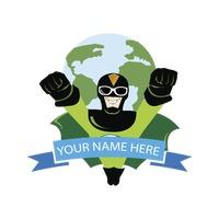 Label with superhero and earth