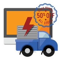 Laptop and delivery truck with cyber monday sale stamp