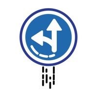 Left or straight arrow auxiliary sign