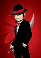 Mafia man in fedora and suit carrying a sword