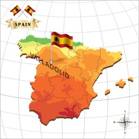 Map of spain with valladolid