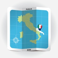 Map pointer indicating puglia on italy map