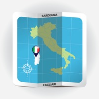Map pointer indicating sardegna on italy map