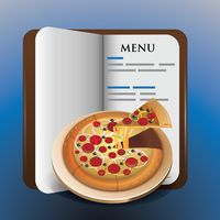Menu book with pizza