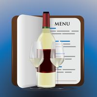 Menu book with wine bottle and glasses