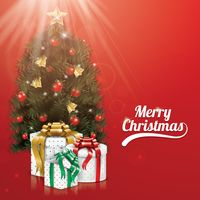 Merry christmas with christmas tree and gift boxes