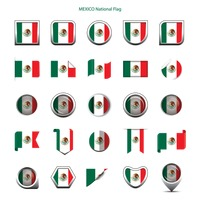 Mexico national flag icons