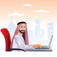 Middle eastern businessman working in the office