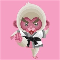 Monkey dressed in a karate suit
