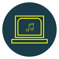 Music icon on laptop