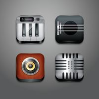 Musical instrument icons set