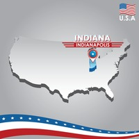 Navigation pointer indicating indiana on usa map
