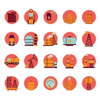 Oil gas and petroleum icon set
