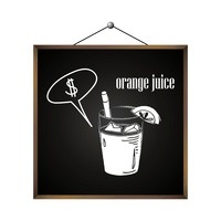 Orange juice with dollar sign in speech bubble
