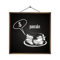 Pancake with dollar sign in speech bubble