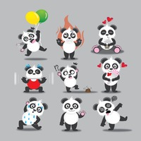 Panda with different actions