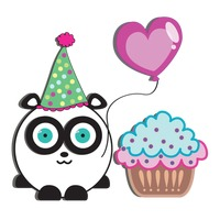 Panda with party hat, balloon and cupcake