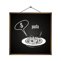 Pasta with dollar sign in speech bubble