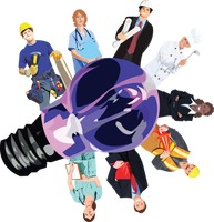 People from various professions around a lightbulb