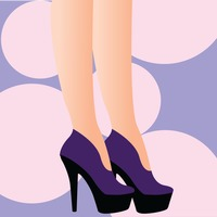 Person wearing high heels on bubble background