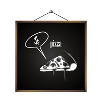 Pizza with dollar sign in speech bubble