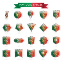Portugal flag badge set