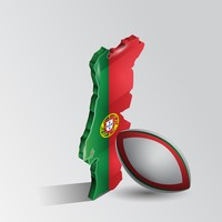 Portugal map with rugby ball