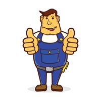 Repairman with his thumbs up
