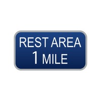 Rest area 1 mile road sign