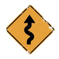 Right-sided winding road sign