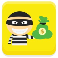 Robber with money bag