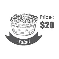 Salad menu title with price