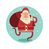Santa claus holding bag