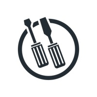 Screwdriver and wood cutter icons