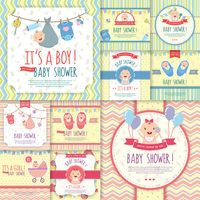 Set of baby shower invitations
