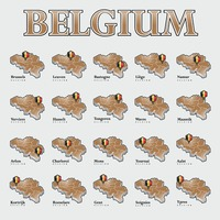 Set of belgium states maps with map pointer