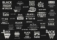 Set of black friday sale icons