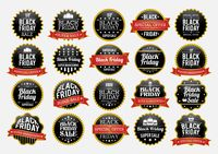 Set of black friday sale stickers and labels