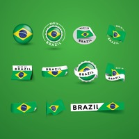 Set of brazil flag labels stickers and banners