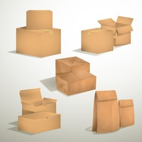 Set of brown cardboard boxes and bags