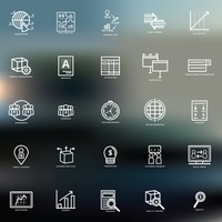 Set of business strategy icons