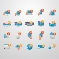 Set of cyber monday deals icons