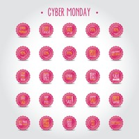 Set of cyber monday sale labels