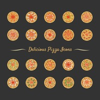 Set of delicious pizza icons