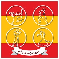 Set of flamenco dancer label