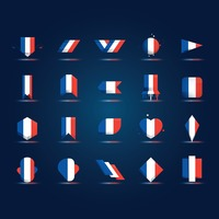 Set of france flag icons