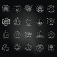 Set of italian icons over black background