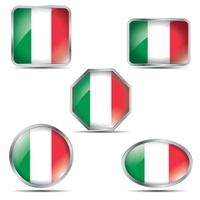 Set of italy flag buttons