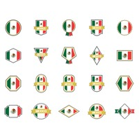 Set of mexican flag labels