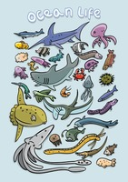 Set of ocean life icons